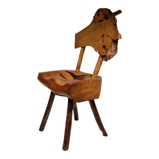 Early 20th Century Rustic Live Edge Hickory and Buckthorn Side Chair circa 1930s