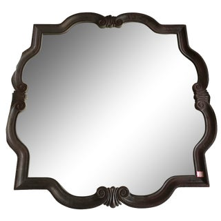 Rosewood Colored Square Accent Mirror