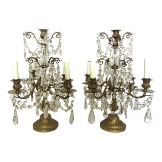 French Brass & Crystal Girandoles - A Pair