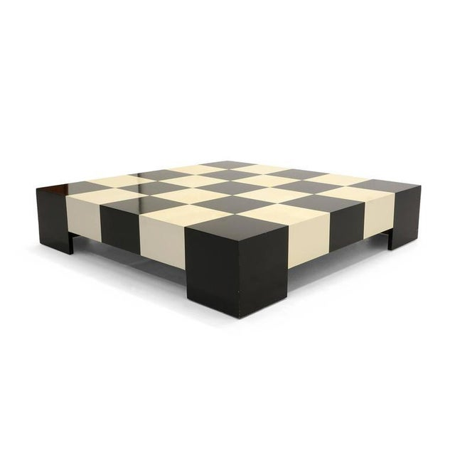 Image of Large Square Black and White Checkerboard Coffee Table by Milo Baughman