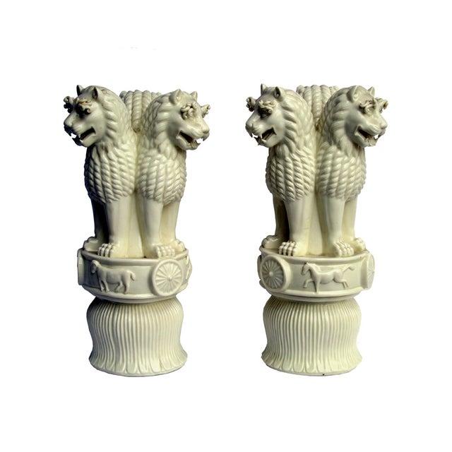 Porcelain Three Heads Lucky Foo Dog Figurines - 2 - Image 4 of 5