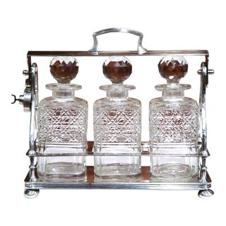 19th Century English Silver Plated 3-Carafe Tantalus With Lock Mechanism