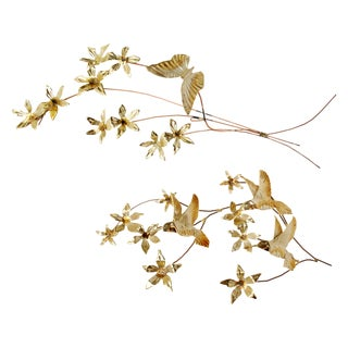 Vintage Gold and Copper Leaf Wall Decor - A Pair