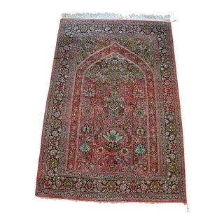 "Vintage Persian Silk Rug - 4'5"" X 6'7"""