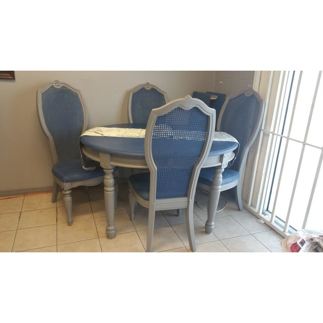 Shabby Chic Blue & Gray Dining Set - Image 2 of 5