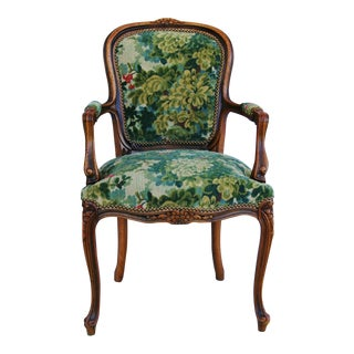 Scalamandre Marly Velvet Tapestry Upholstered Walnut Armchair