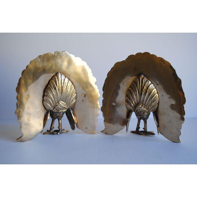 Image of Vintage Brass Peacock Bookends - Pair