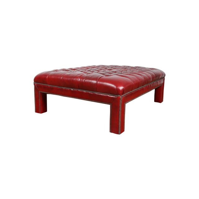 Bernhardt Interiors Red Leather Ottoman - Image 1 of 9