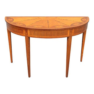 Wood Inlay Demilune Console Table