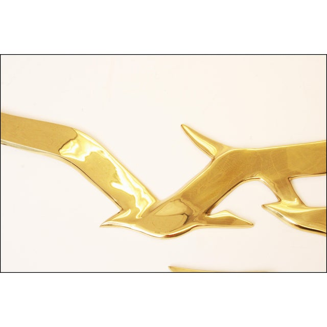 Mid-Century Modern Brass Birds Wall Art - Image 8 of 11
