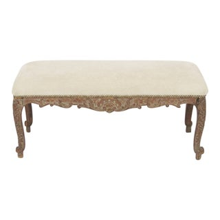 Antique 19th Century Carved Bench