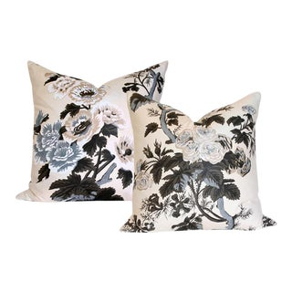 Pyne Hollyhock Charcoal Pillow Covers - A Pair