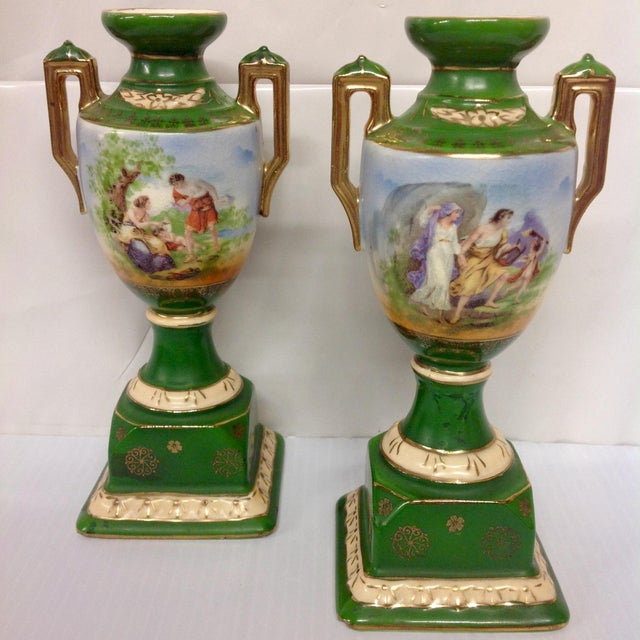 Vintage Erphila Pottery Green Handled Urns - Pair - Image 3 of 6