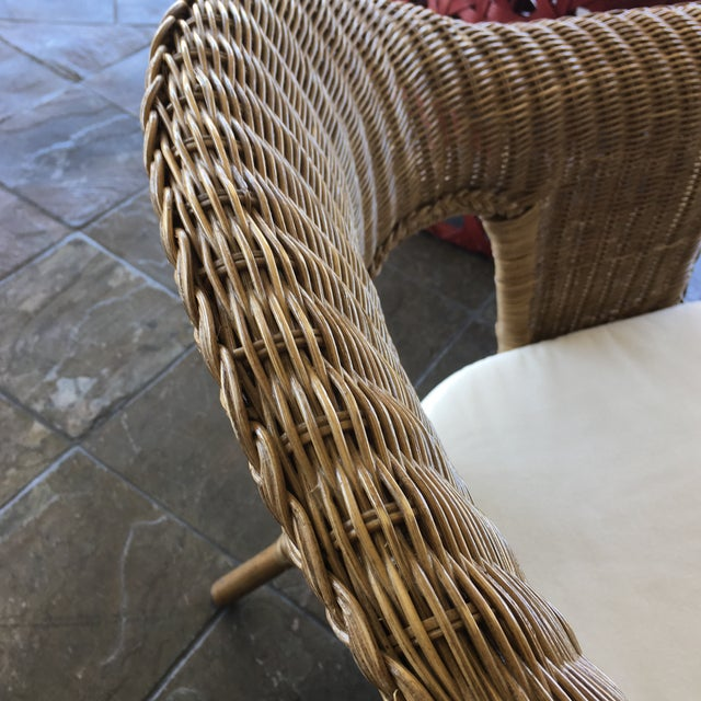 Stackable Wicker Arm Chairs & White Cushions - A Pair - Image 10 of 11