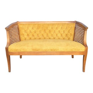 Mid-Century Cane Settee Orange Tufted Velvet