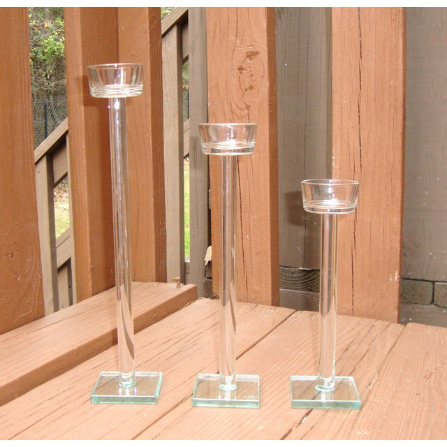 Minimalist Glam Glass Candlesticks - Set of 3 - Image 2 of 9