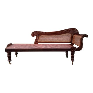 19th Century West Indies Bajan Regency Mahogany and Cane Recamier
