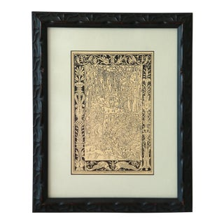 Gothic Print in Custom Framed Italian Wood Frame & Mat