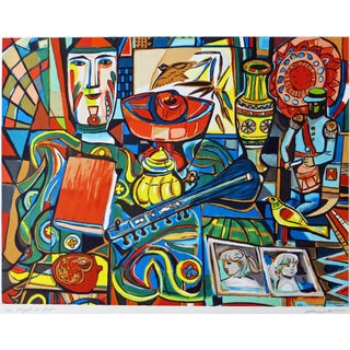Irving Amen Signed & Numbered Colorful Lithograph