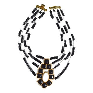 William De Lillo Black & White Glass Necklace