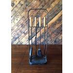 Image of Vintage Modernist Iron Birch Fireplace Tool Set