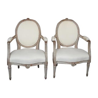 Pair of Gustavian Style Armchairs (#94-05)