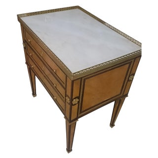 French White Marble Top & Brass Gallery Side Table