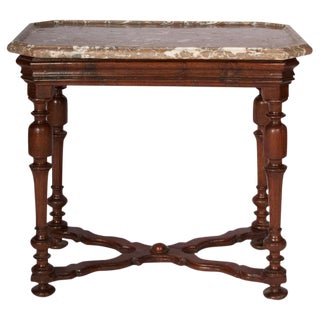 Henry III Style Marble Top Oak Side Table