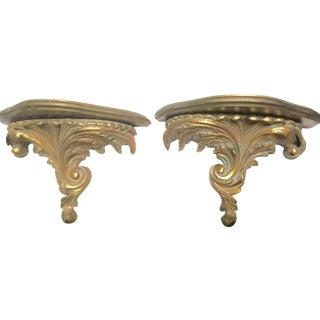 Gilt Wood Carved Italian Brackets - A Pair