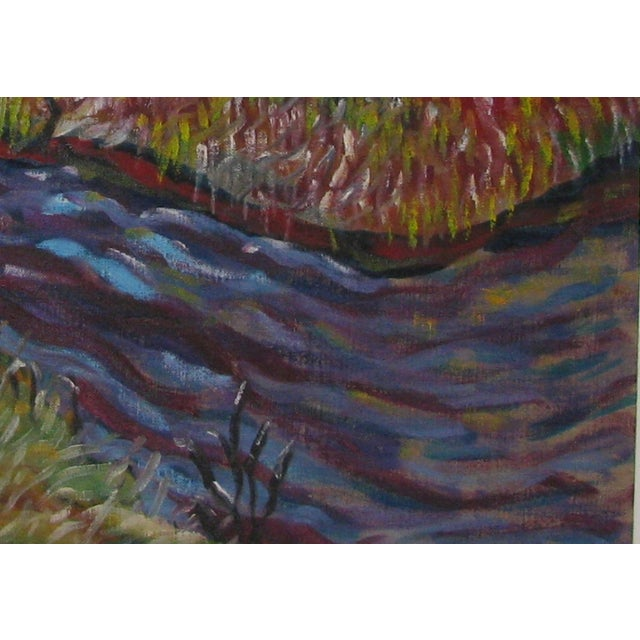 Abstract Impressionist Landscape in Blue & Purple - Image 3 of 3