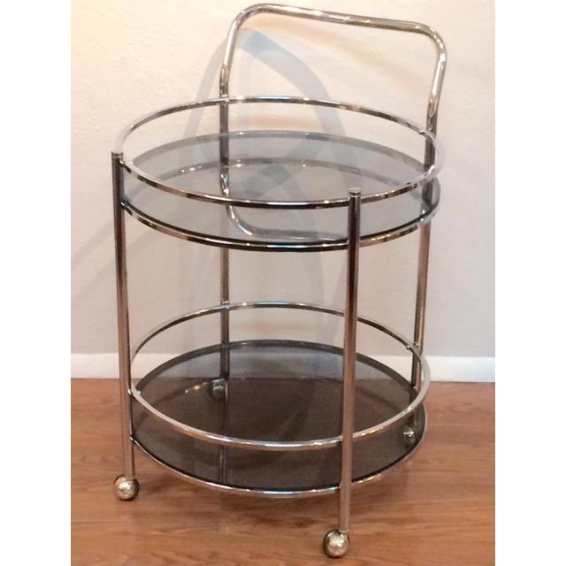 Vintage Milo Baughman Style Round Bar Cart - Image 2 of 5