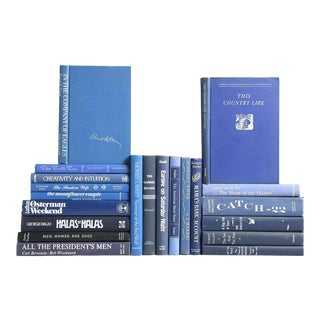 Mid-Century Blue & White Accented Book MIX - Set of 20