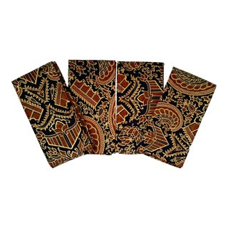 Vintage African Print Fabric Dinner Napkins - Set of 4