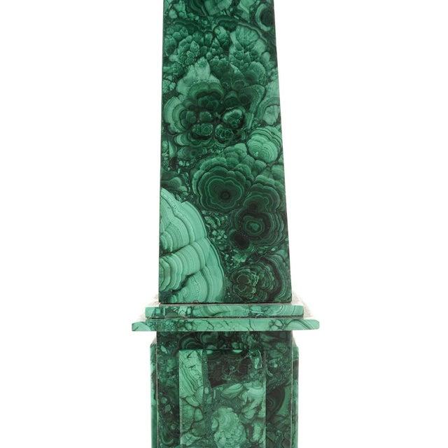 "Image of Malachite Pair of Beautiful 19"" Antique Obelisks"