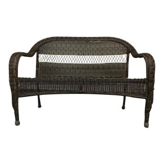Vintage Black Painted Wicker Loveseat