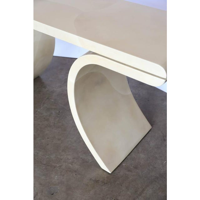 Lacquered Goat Skin Console Table in the Manner of Karl Springer - Image 3 of 6