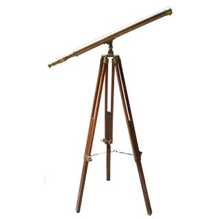 Brass and Wood Tripod Telescope