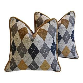 Designer Woven Scottish Argyle Design Feather/Down Pillows - Pair