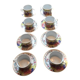 Tobacco Leaf Cups & Saucers - Set of 6