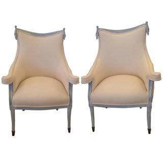 Grosfeld House Hollywood Regency Bergeres Club Chairs - Pair