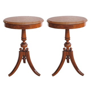 A Pair of Danish Neoclassical Style Walnut Circular Tripod Side Tables