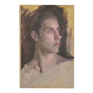 Vintage Young Male Portrait Oil Painting