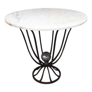 1920's Art Deco Cast Iron And White Marble Table
