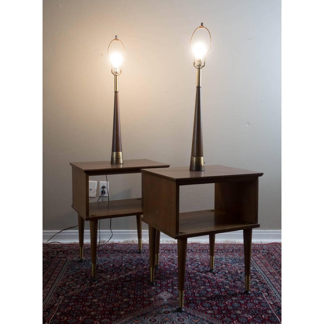 Image of Vintage Mid-Century Modern Lamp Side Tables - A Pair