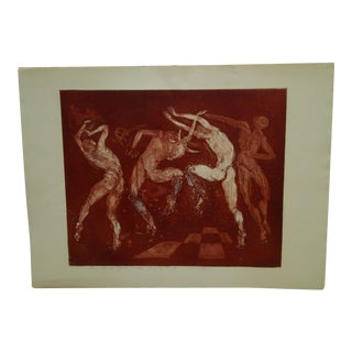 "Ivan Valtchew 1971 ""The Red Greeks Dancing"" Signed Print"