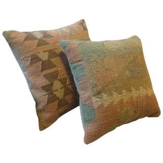 Turkish Old Kilim Wool Pillow Covers - A Pair