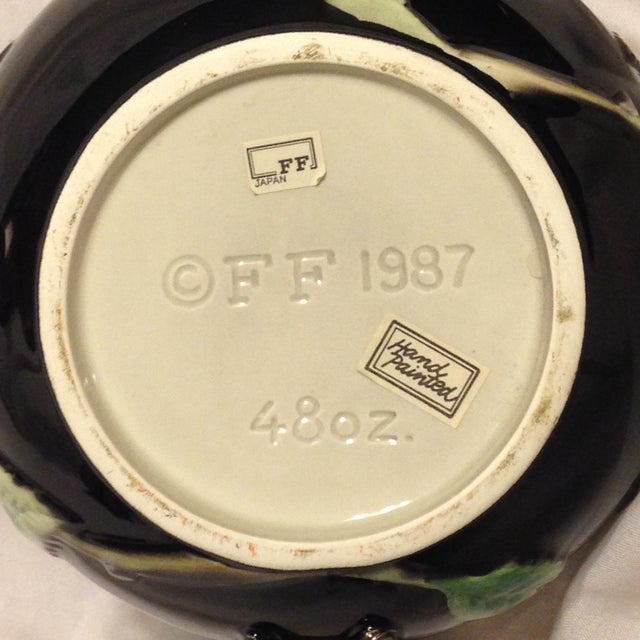 Fitz and Floyd Midnight Rose Tea Pot, Sugar, & Creamer - Image 6 of 8