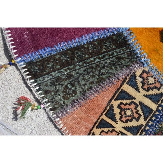 Turkish Handmade Patchwork Round Rug - 6′5″ × 6′5″ - Image 3 of 8