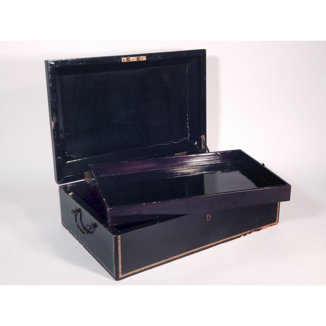 Antique 19th Century Black Lacquered Box - Image 4 of 5