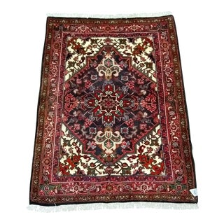 """Persian Hand Knotted 100% Wool Heriz Design Rug - 3'10"""" x 4'11"""""""